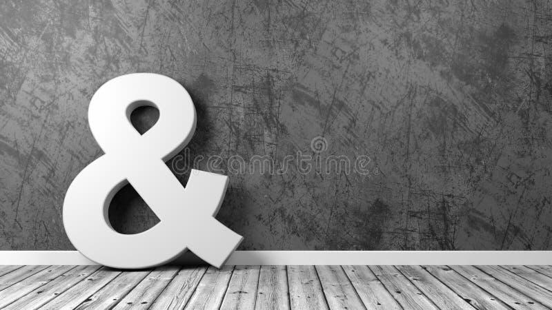 Symbole d'esperluète sur le plancher en bois contre le mur illustration stock