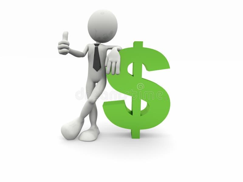 symbole d'homme du dollar des affaires 3d illustration libre de droits