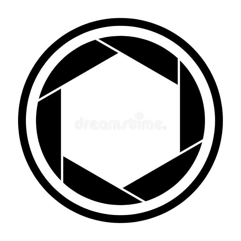Symbole d'icône d'obturateur de caméra et vecteur de lame de volet illustration de vecteur