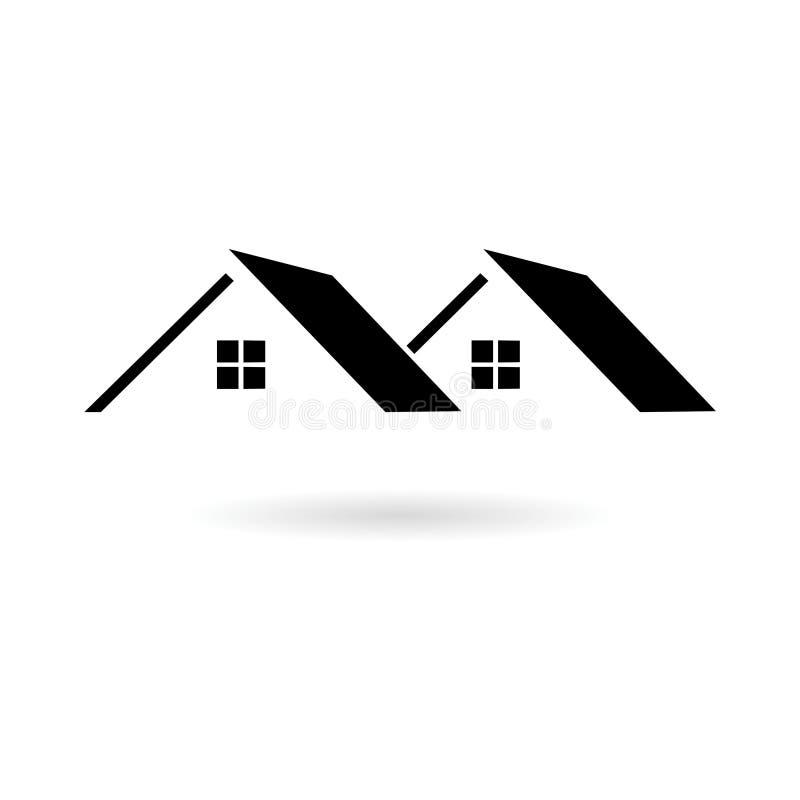 Symbole d'immobiliers, icône de toit ou logo noire illustration stock