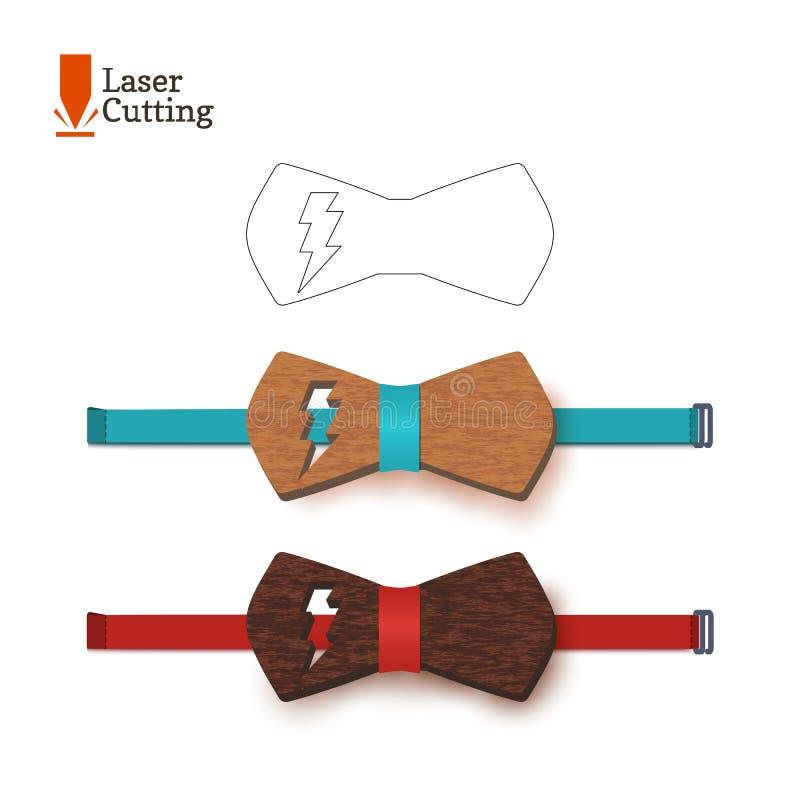 Symbole d'instantané de whith de calibre de noeud papillon de coupe de laser Dirigez la silhouette pour couper un noeud papillon  illustration de vecteur