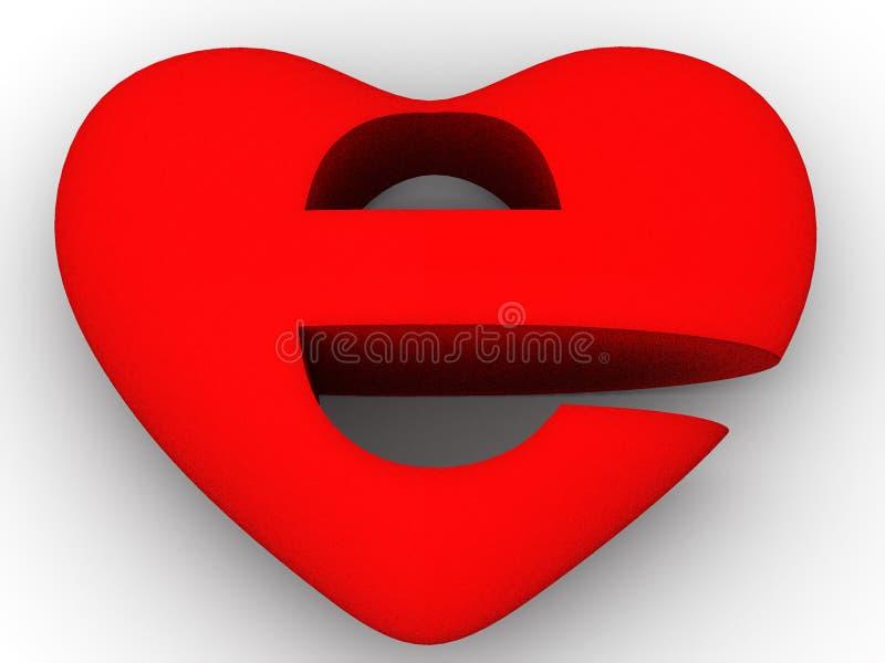 Symbole d'Internet comme coeur illustration stock