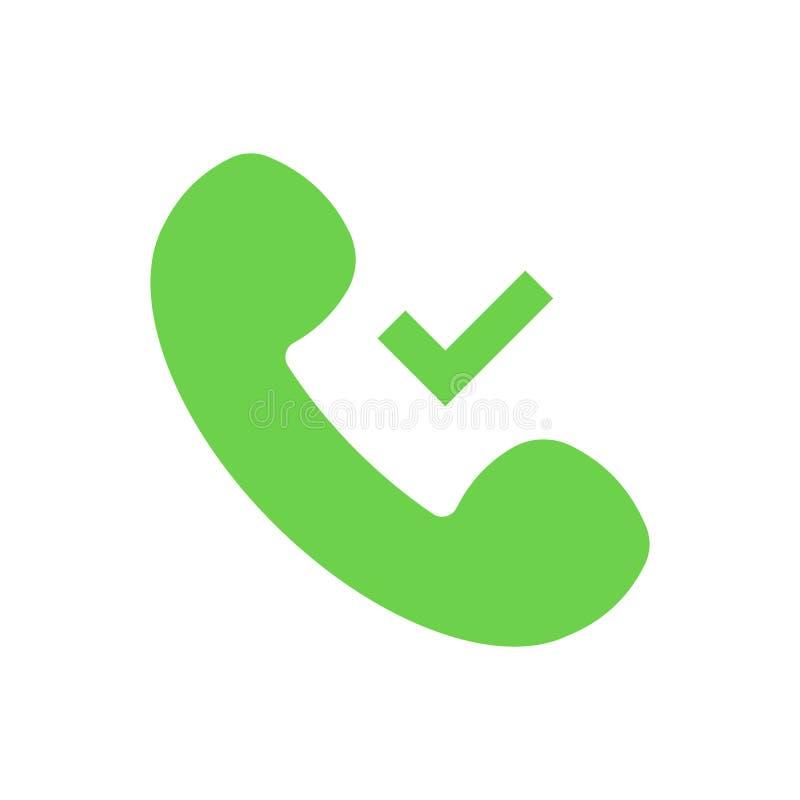 Symbole d'isolement de combiné de téléphone Coche, signe de coutil de vert Icône plate de vecteur illustration stock