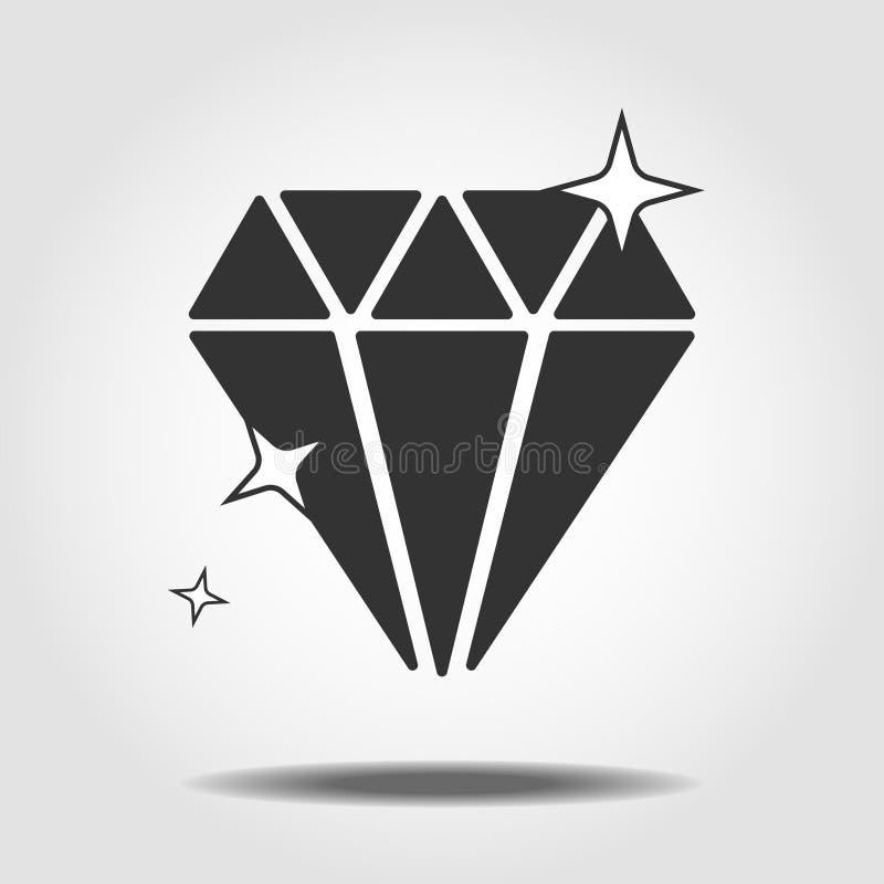 Symbole d'isolement d'ic?ne de min?ralogie sur le fond propre ?l?ment de diamant de vecteur dans le style ? la mode eps10 illustration stock