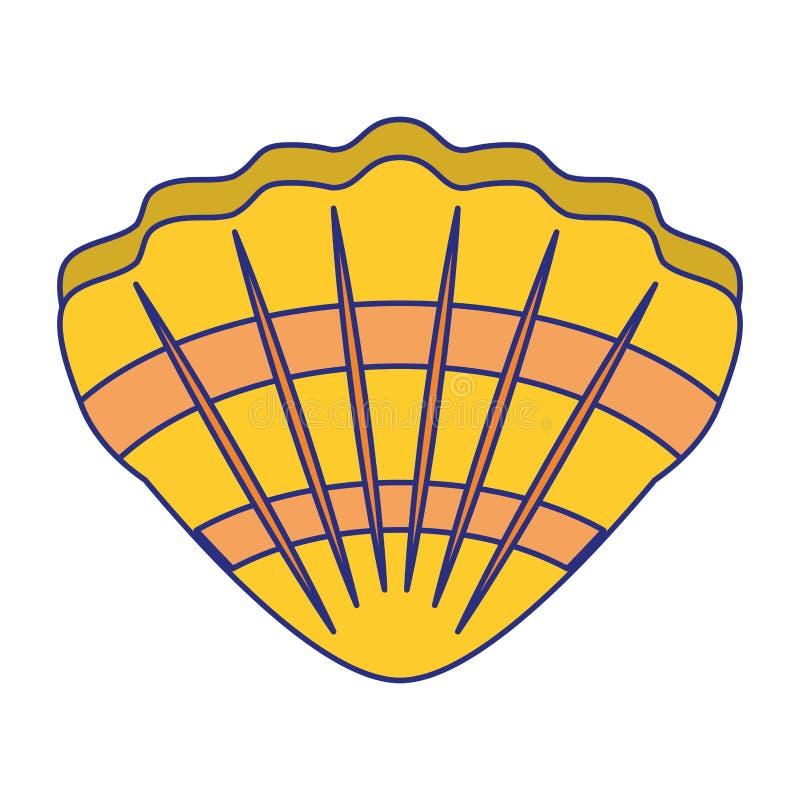 Symbole d'isolement par bande dessinée de molusk de mer de Shell illustration stock