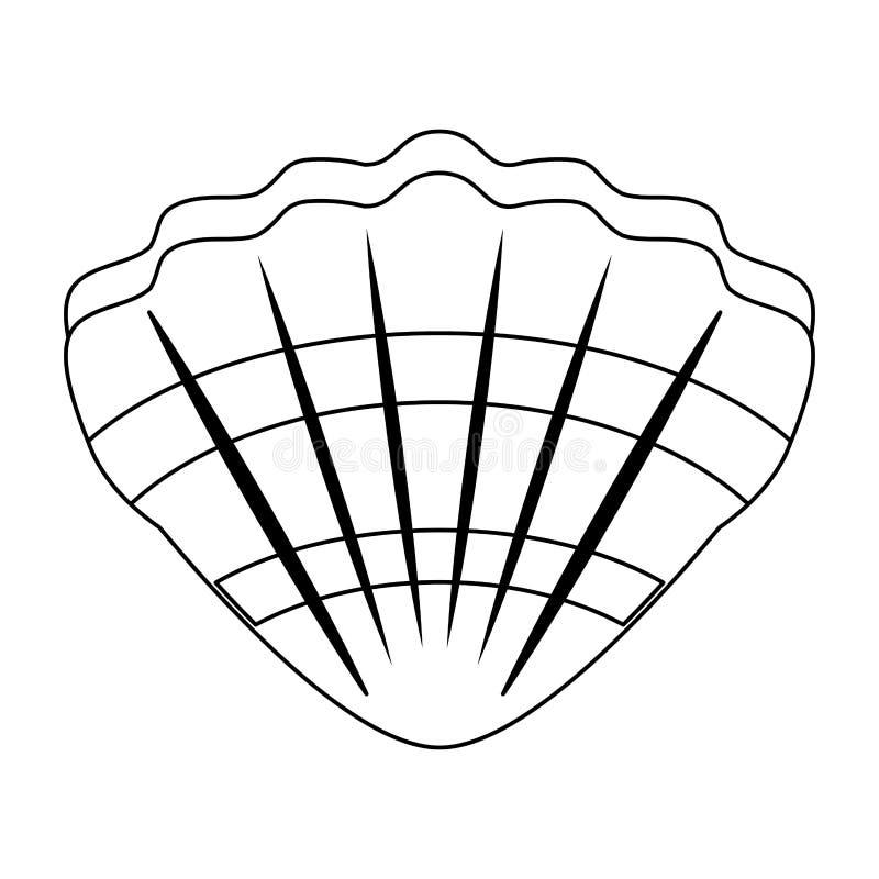 Symbole d'isolement par bande dessinée de molusk de mer de Shell en noir et blanc illustration stock