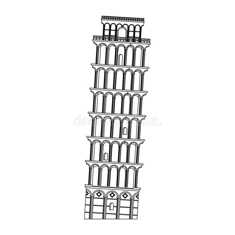 Symbole d'isolement par monument de l'Italie de tour de Pise en noir et blanc illustration libre de droits