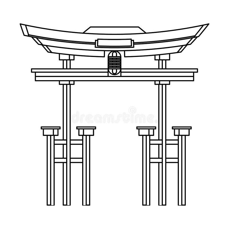 Symbole d'isolement par monument d'entrée de la Chine en noir et blanc illustration de vecteur