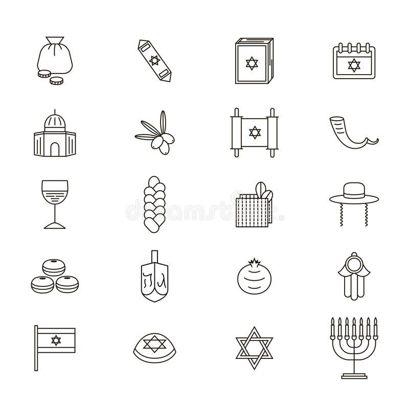 Symbole d'Israel Thin Line Icon Set Vecteur illustration de vecteur