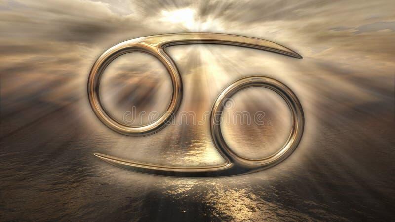 Symbole d'or mystique de Cancer d'horoscope de zodiaque rendu 3d illustration libre de droits