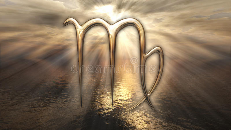 Symbole d'or mystique de Vierge d'horoscope de zodiaque rendu 3d illustration stock