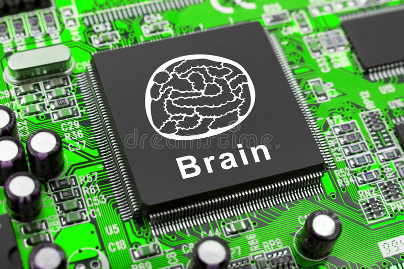 symbole d'ordinateur de puce de cerveau image stock