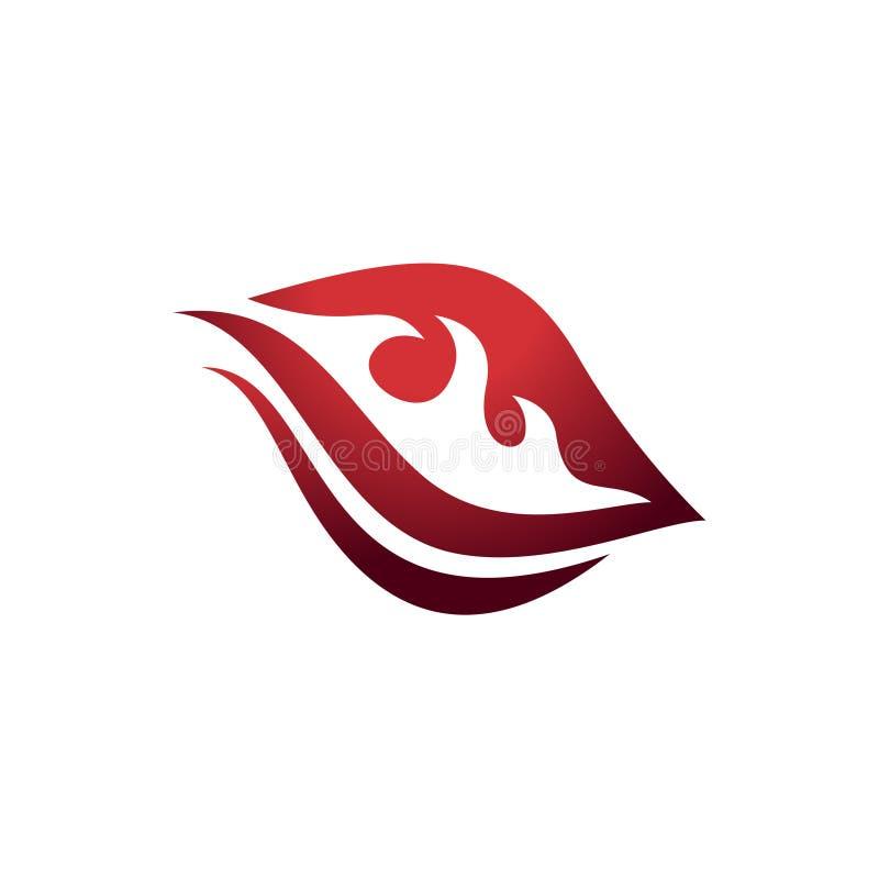Symbole d'un rouge ardent Logo Design de flamme du feu de feuille illustration libre de droits