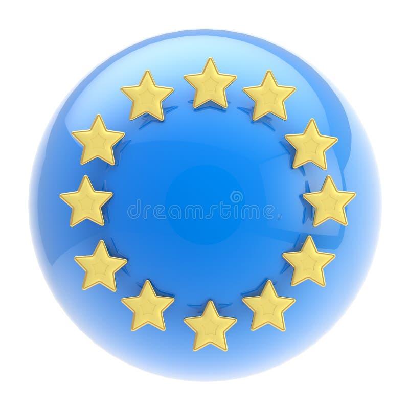 Symbole d'Union européenne : sphère et étoiles d'or illustration stock