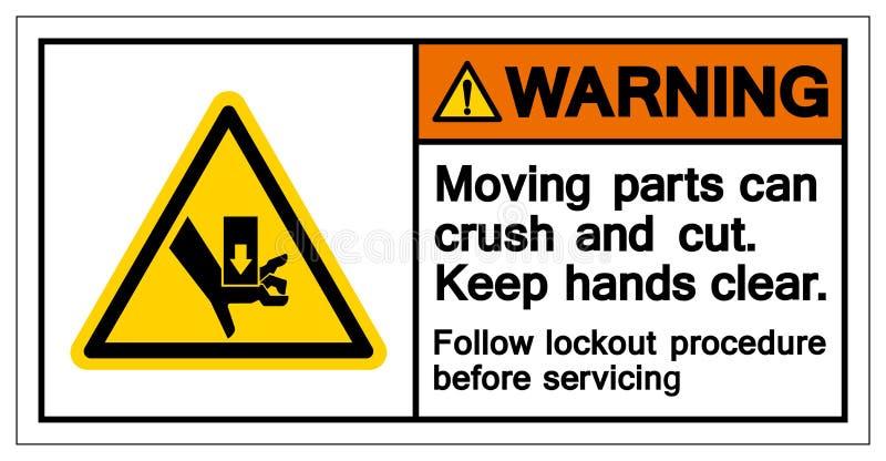 Symbole de avertissement de pièces mobiles, illustration de vecteur, isolat sur le label blanc de fond EPS10 illustration de vecteur