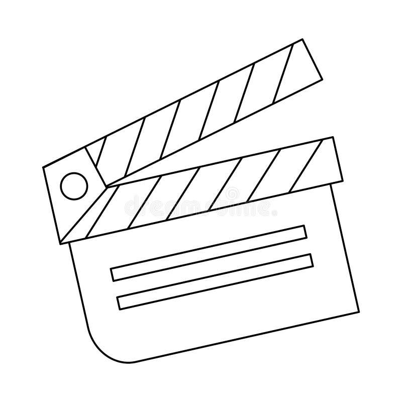 Symbole de bardeau de cinéma d'isolement en noir et blanc illustration libre de droits