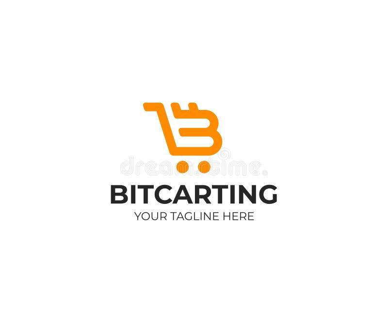 Symbole de Bitcoin et calibre de logo de chariot Conception de vecteur de Cryptocurrency illustration stock