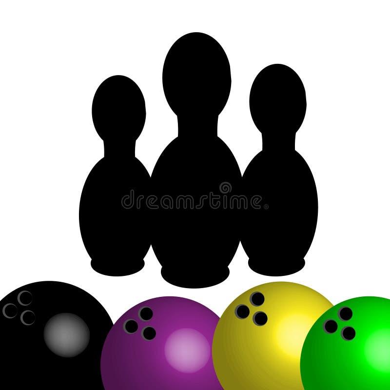 Symbole de bowling d'isolement sur le fond blanc Illustration de vecteur illustration de vecteur