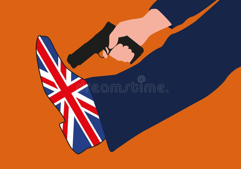 Symbole de Brexit avec un citoyen britannique se tirant dans le pied illustration de vecteur