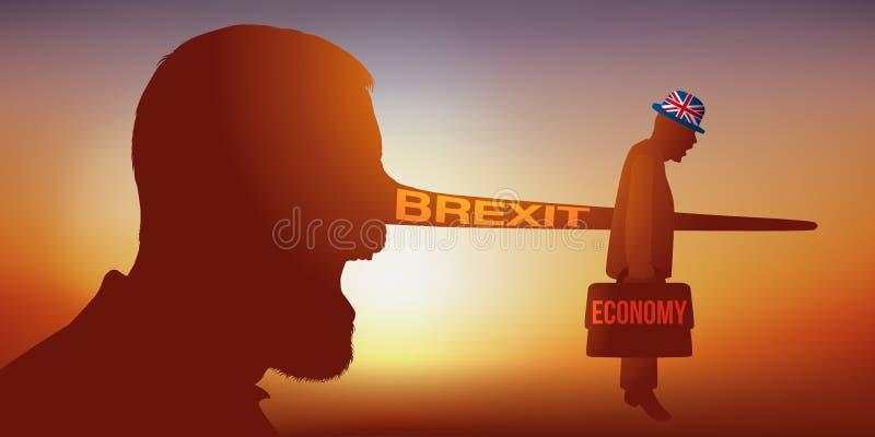 Symbole de Brexit avec un citoyen britannique se tirant dans le pied illustration stock