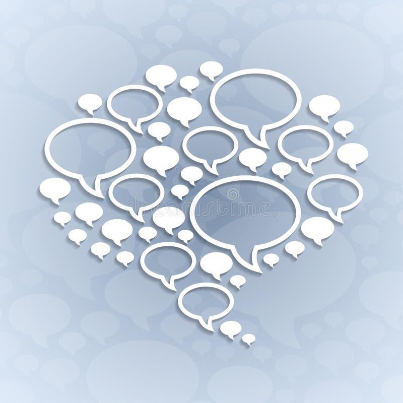 Symbole de bulle de causerie sur le fond gris-clair illustration libre de droits