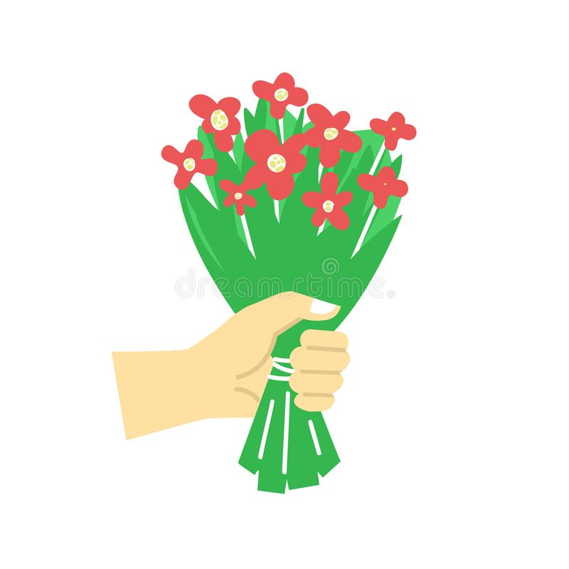 Symbole de cadeau - dirigez la ligne plate illustration de style avec la main tenant le bouquet des fleurs illustration stock