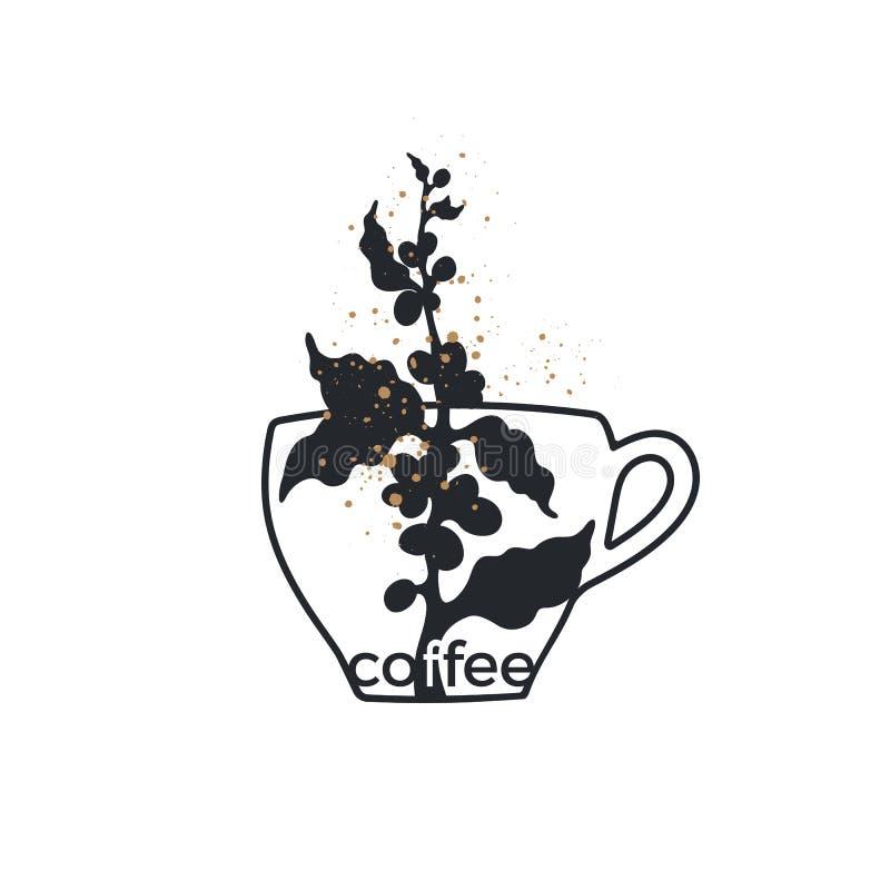 Symbole de café de vecteur Logo d'art avec la tasse illustration de vecteur