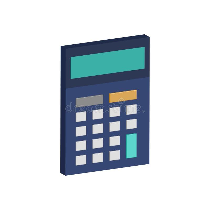 Symbole de calculatrice Icône ou logo isométrique plate illustration de vecteur