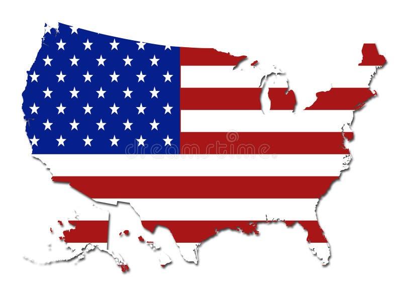 Symbole de carte des Etats-Unis de drapeau des USA illustration libre de droits
