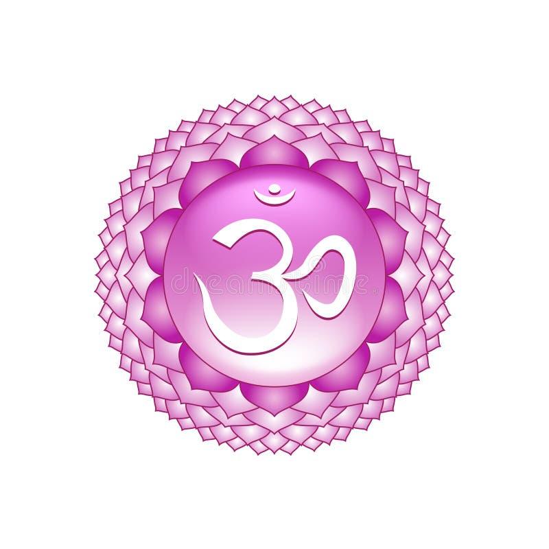 Symbole de chakra de Sahasrara sur le vecteur blanc illustration stock