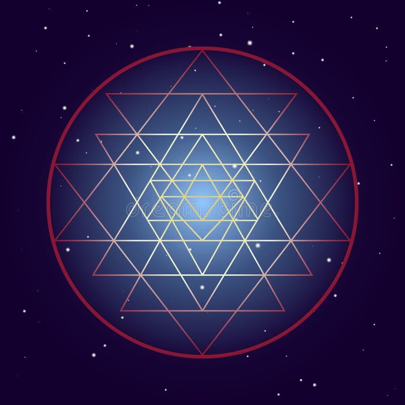 Symbole de chakra de Shri Yantra, diagramme mystique cosmique avec des étoiles sur le fond foncé Illustration sacr?e de la g?om?t illustration libre de droits