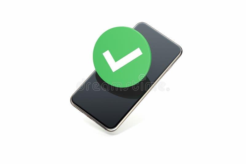Symbole de coche sur l'écran de téléphone portable Icône de coutil rendu 3d illustration libre de droits