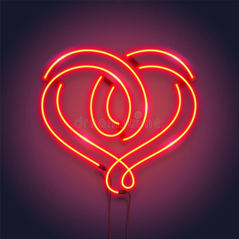 Symbole de coeur fait de tubes au néon Conception romantique de décoration illustration réaliste de vecteur illustration stock