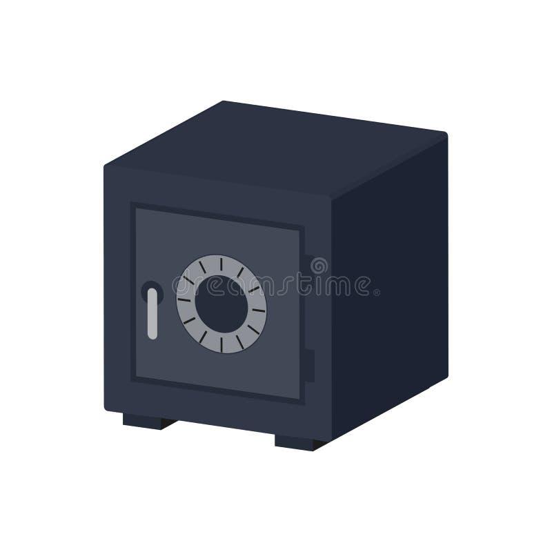 Symbole de coffre-fort de banque en métal Icône ou logo isométrique plate illustration stock