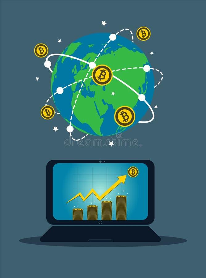 Symbole de concept d'ordinateur portable d'affaires à l'écran L'icône d'or de Bitcoin pour le diagramme de rowth sur la pièce de  illustration libre de droits