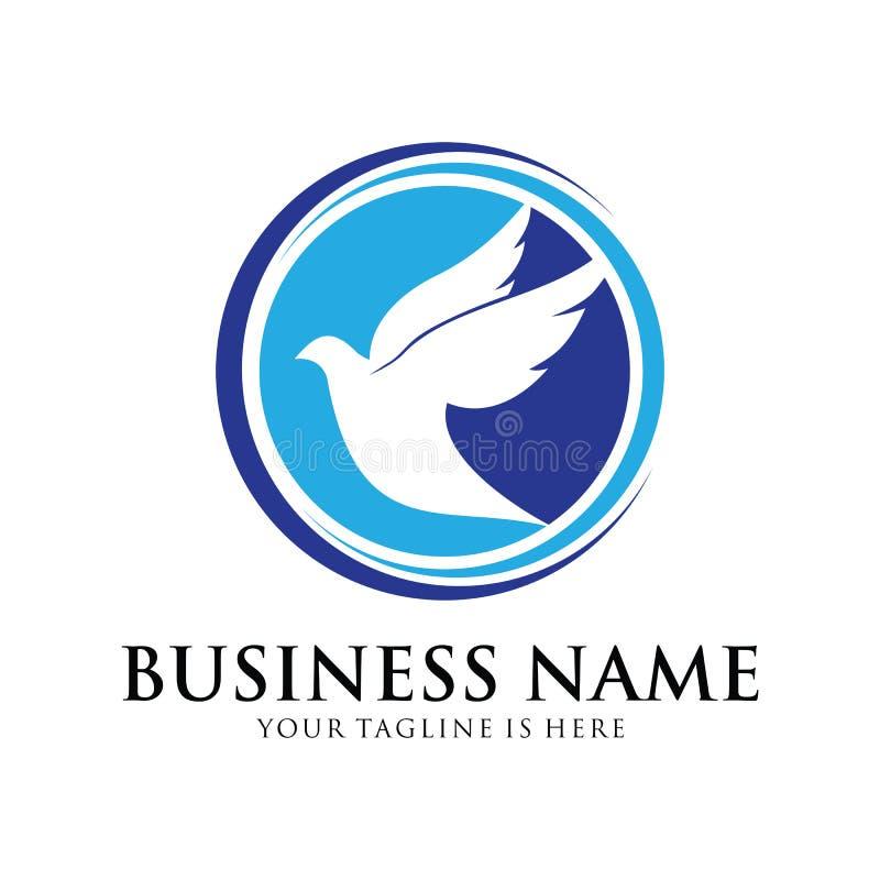 Symbole de conception de logo de vecteur de colombe de paix et d'humanité illustration de vecteur
