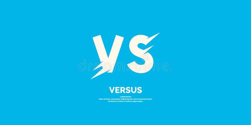 Symbole de confrontation CONTRE Illustration moderne de vecteur et contre l'emblème illustration libre de droits