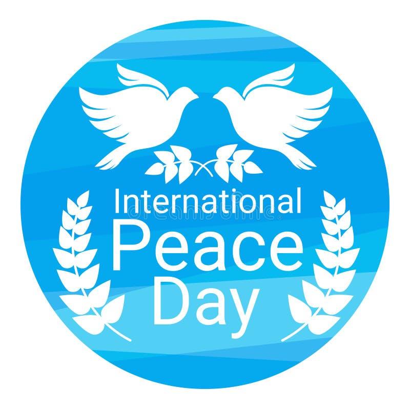 Symbole de couples d'oiseau de colombe de blanc d'affiche de jour de paix du monde illustration stock