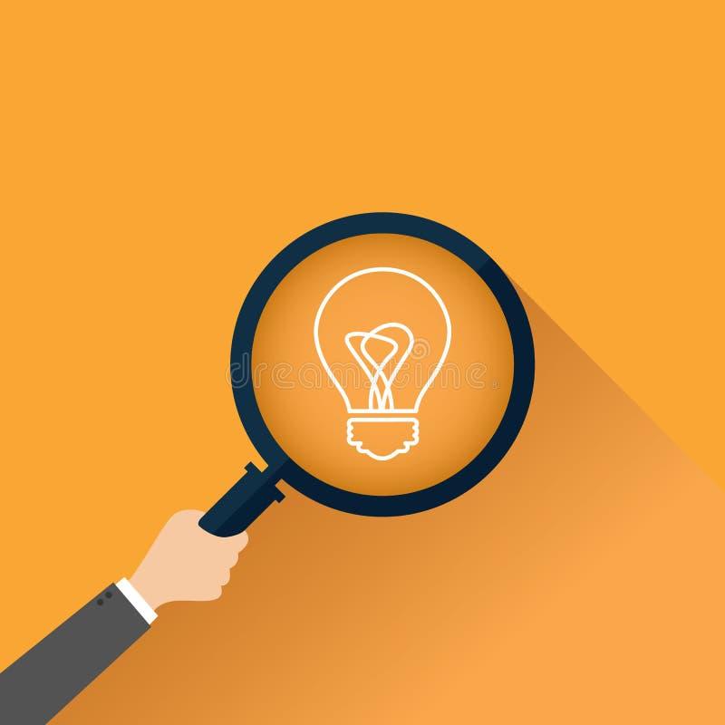 Symbole de créativité avec l'icône de loupe et l'ampoule Illustration de vecteur illustration libre de droits