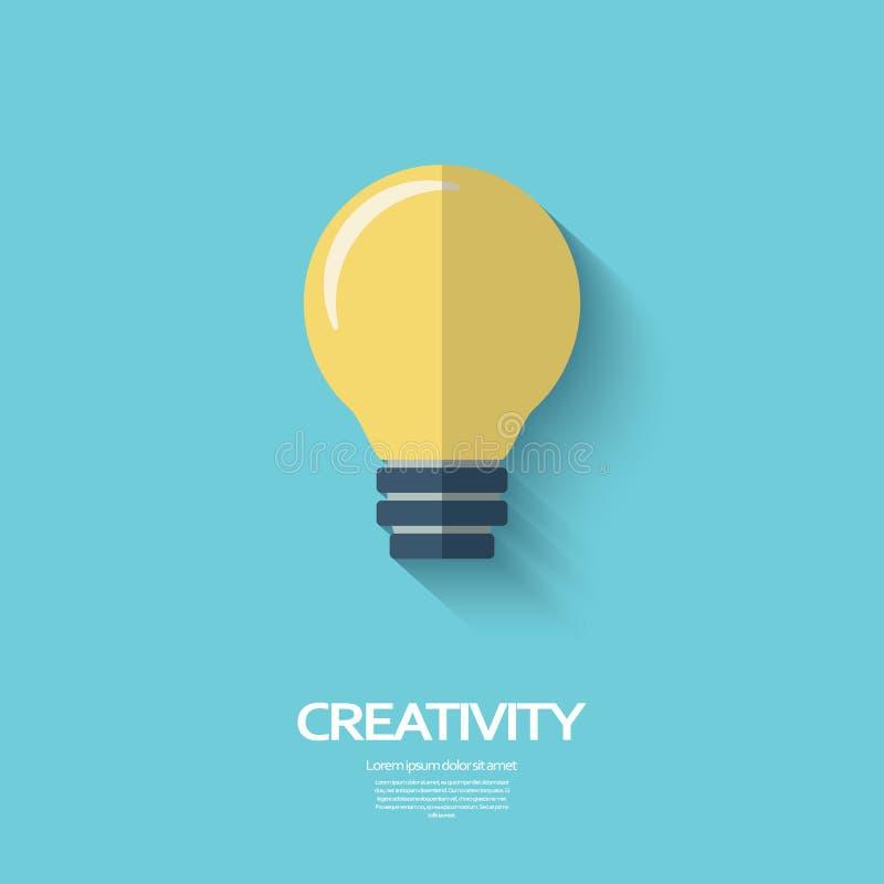 Symbole de créativité d'ampoule dans la conception plate moderne illustration libre de droits