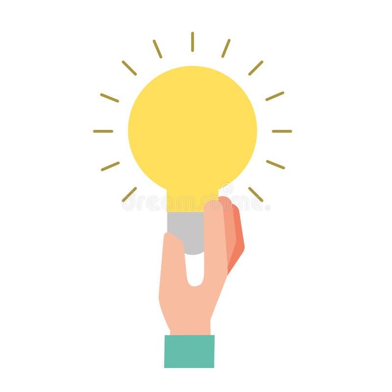 Symbole de créativité d'idée d'ampoule de participation de main illustration de vecteur