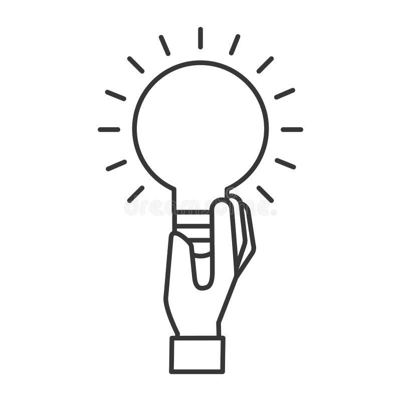 Symbole de créativité d'idée d'ampoule de participation de main illustration libre de droits