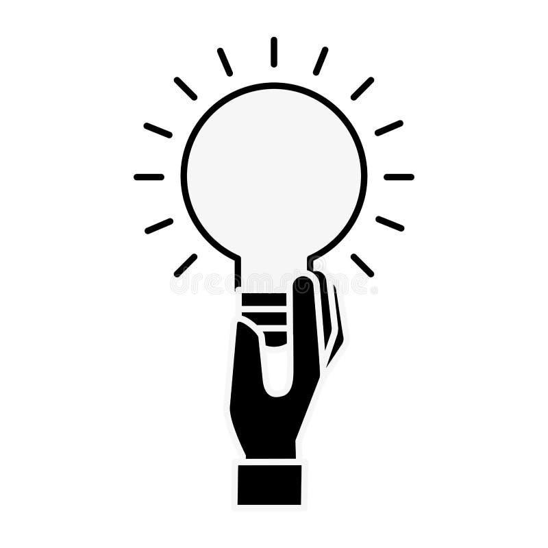 Symbole de créativité d'idée d'ampoule de participation de main illustration stock