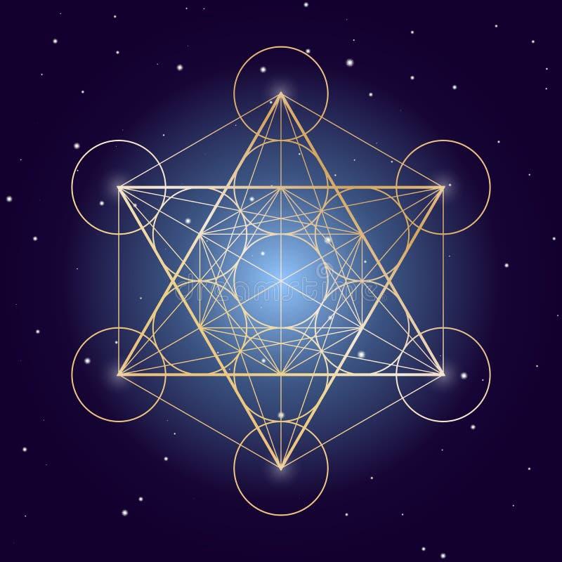Symbole de cube en Metatron sur un ciel étoilé, éléments de la géométrie sacrée illustration libre de droits
