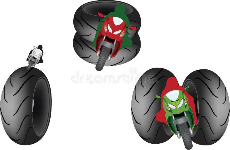 Symbole de cycliste avec des pneus illustration de vecteur