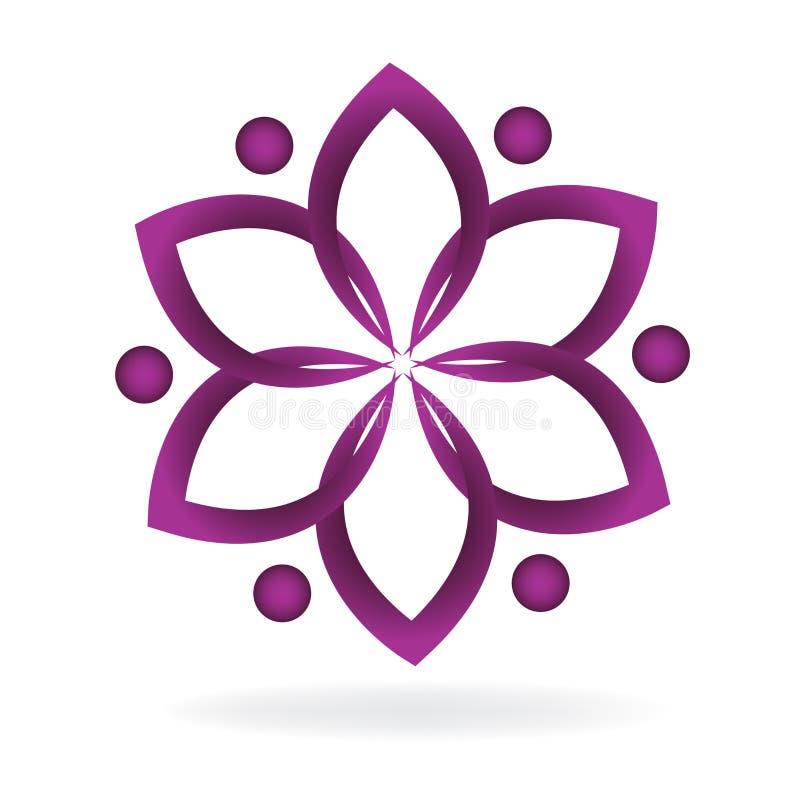 Symbole de fleur de lotus de travail d'équipe de logo de conception graphique d'illustration d'image de vecteur de yoga illustration libre de droits