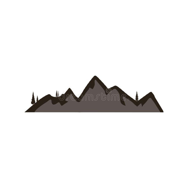 Symbole de forme de silhouette de montagne Icône extérieure d'isolement sur le fond blanc Élément courant de vecteur pour la créa illustration libre de droits