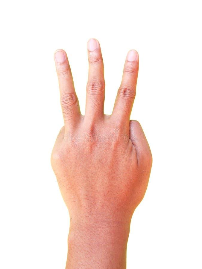 Symbole de geste de main du numéro trois photo libre de droits