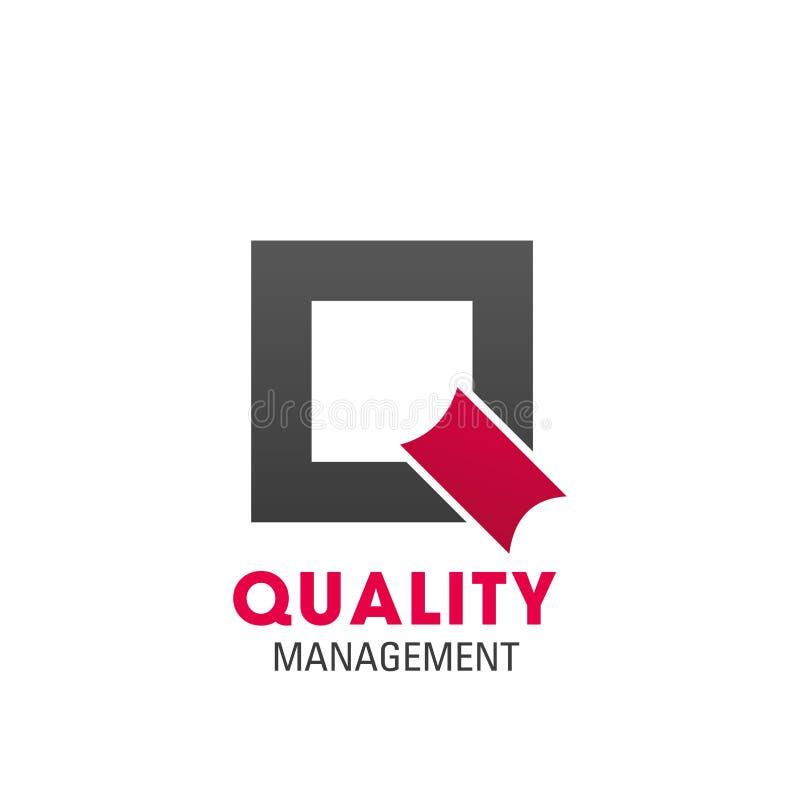 Symbole de gestion de la qualité pour le design de carte d'affaires illustration stock
