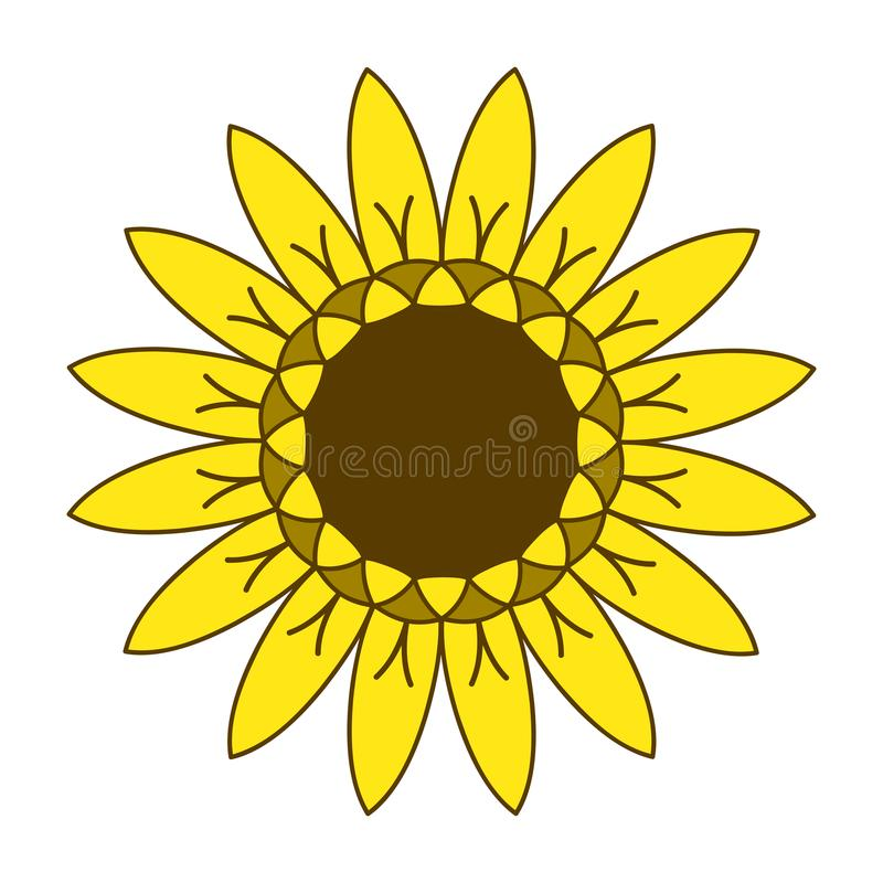 Symbole de jardinage de logo de tournesol, conception plate de style d'icône, vecteur illustration stock